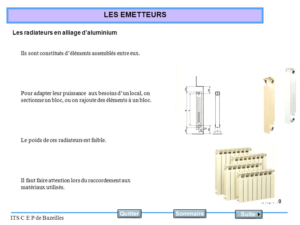 Les radiateurs en alliage d'aluminium