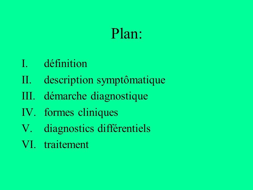 Plan: définition description symptômatique démarche diagnostique