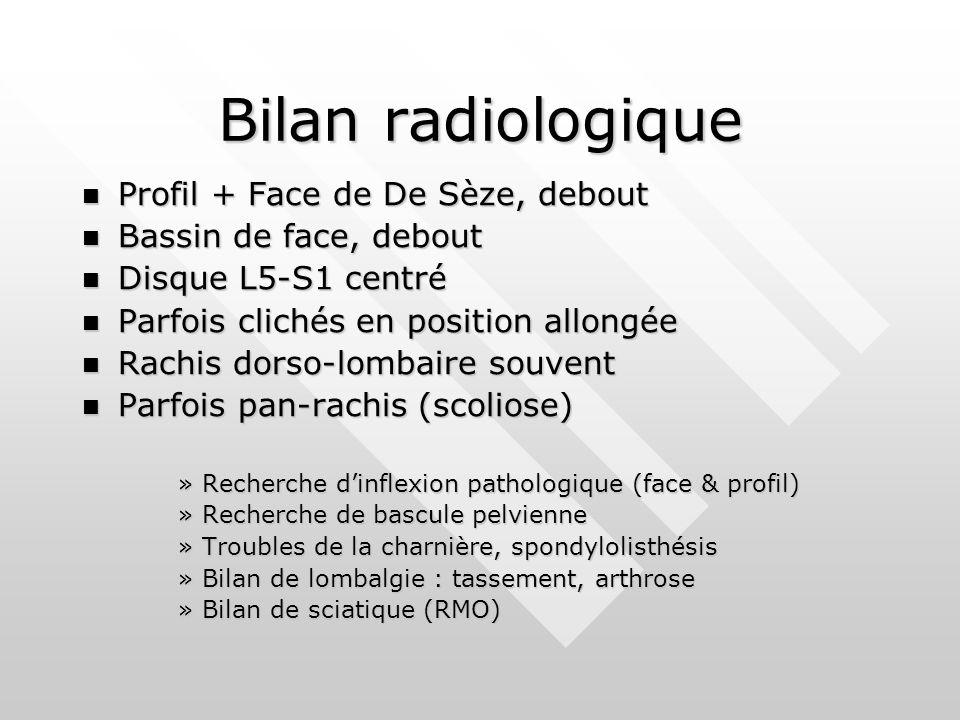 Bilan radiologique Profil + Face de De Sèze, debout