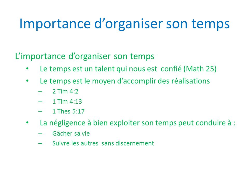 Importance d'organiser son temps