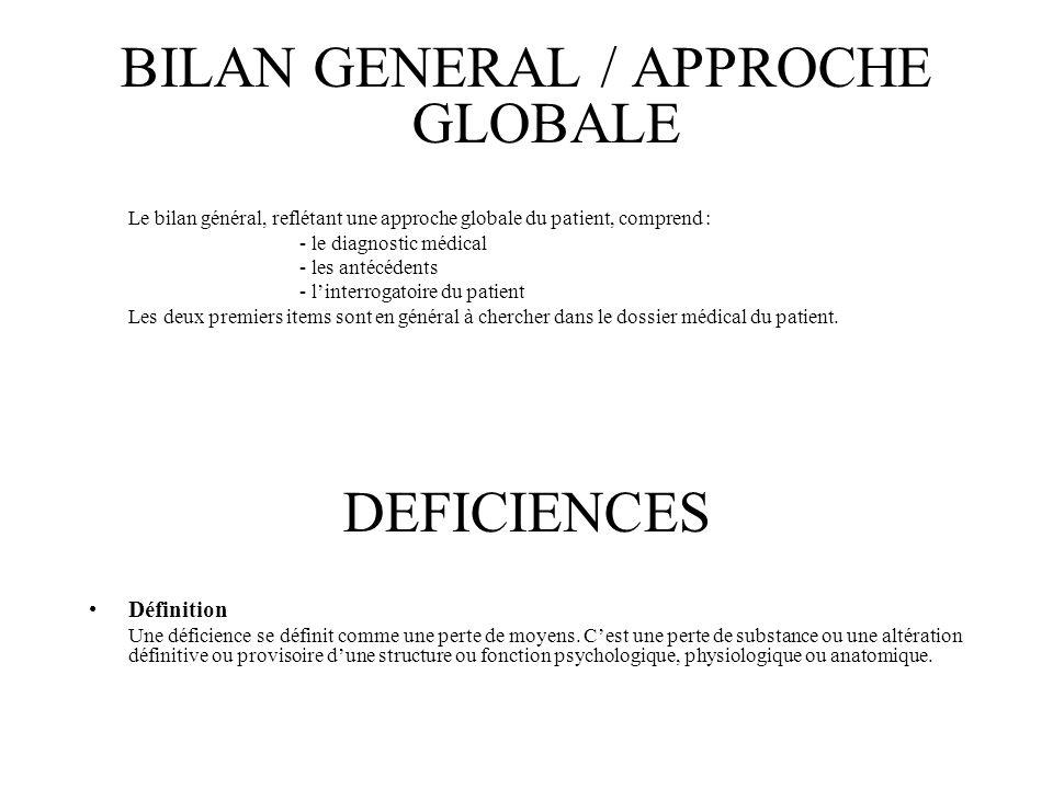 BILAN GENERAL / APPROCHE GLOBALE