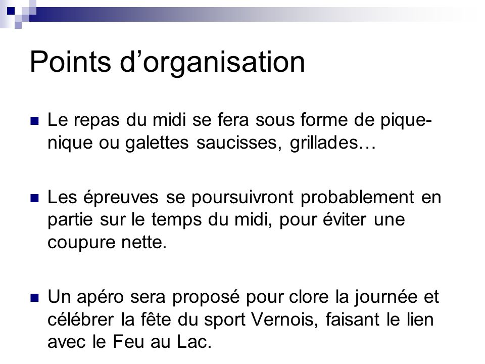 Points d'organisation