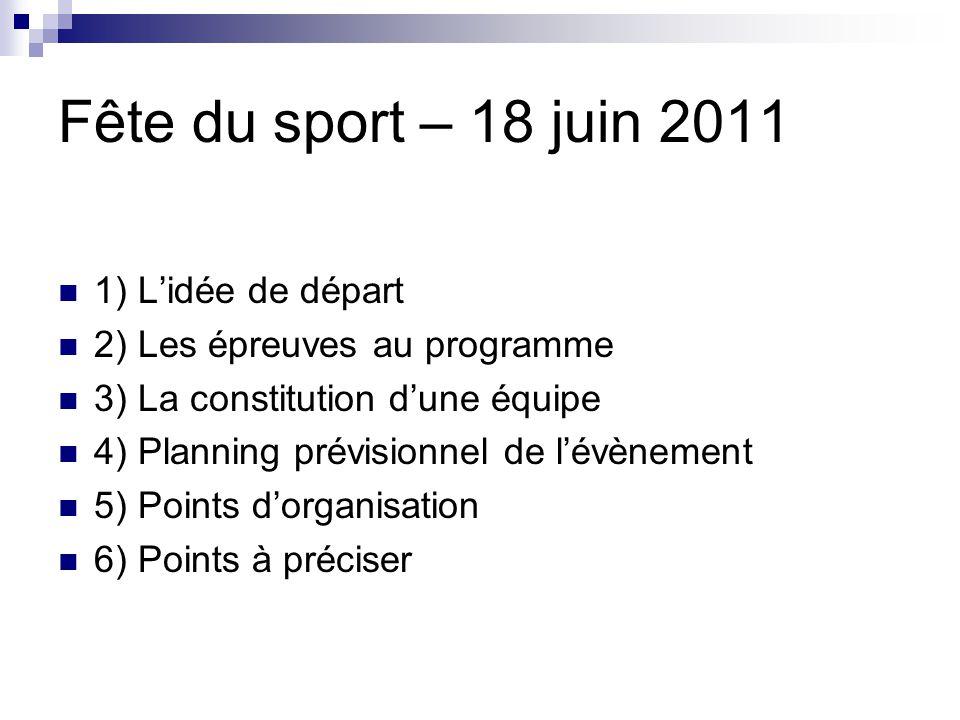 Fête du sport – 18 juin 2011 1) L'idée de départ
