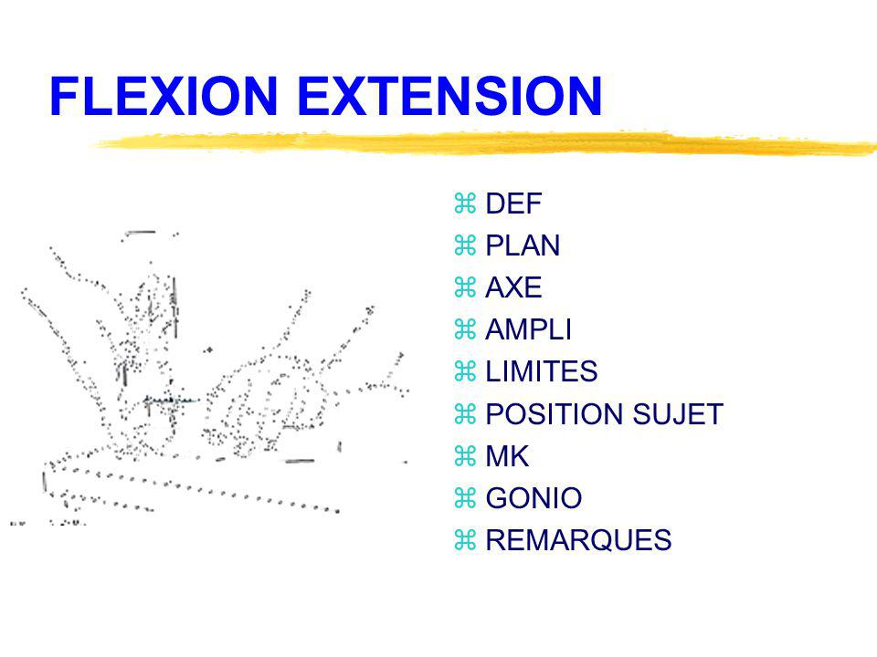 FLEXION EXTENSION DEF PLAN AXE AMPLI LIMITES POSITION SUJET MK GONIO