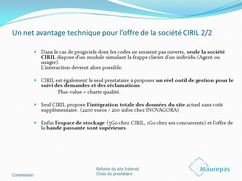 Un net avantage technique pour l'offre de la société CIRIL 2/2