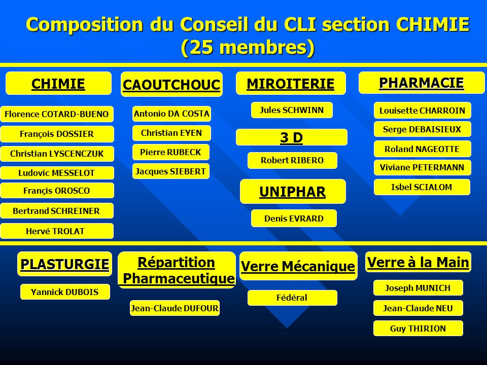 Composition du Conseil du CLI section CHIMIE (25 membres)