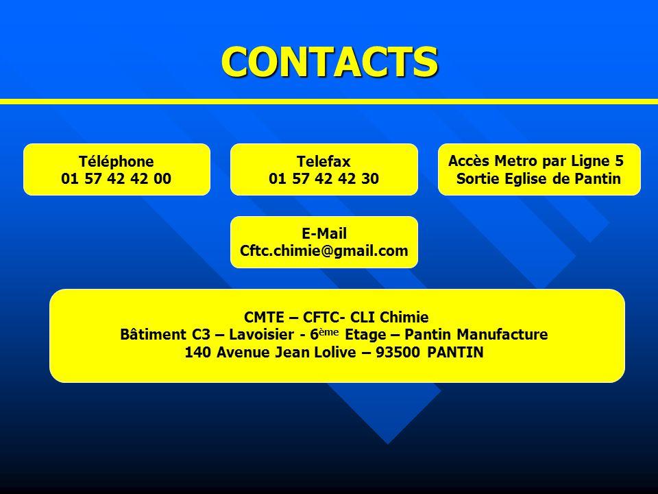 CONTACTS Téléphone 01 57 42 42 00 Telefax 01 57 42 42 30