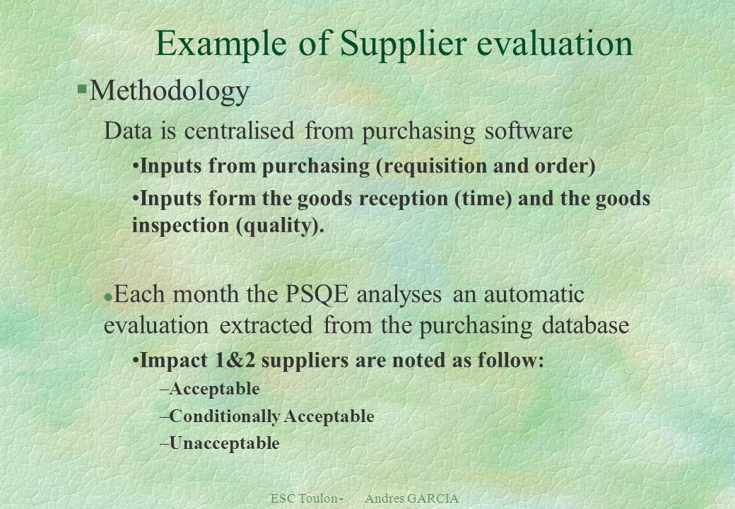 Example of Supplier evaluation