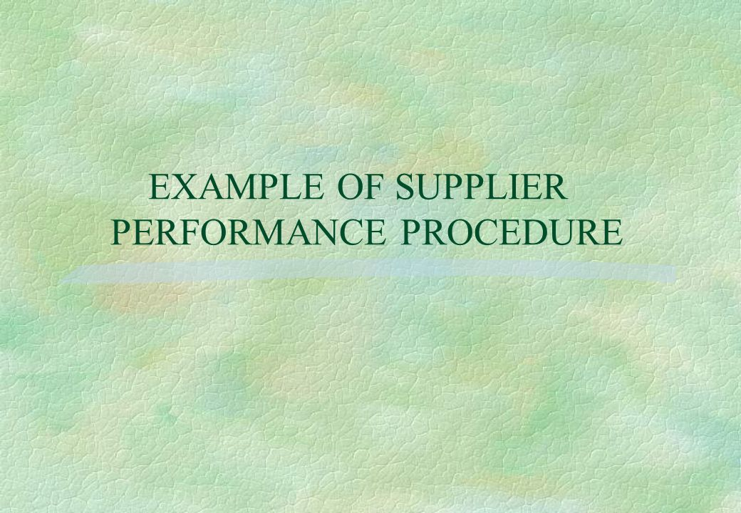 EXAMPLE OF SUPPLIER PERFORMANCE PROCEDURE