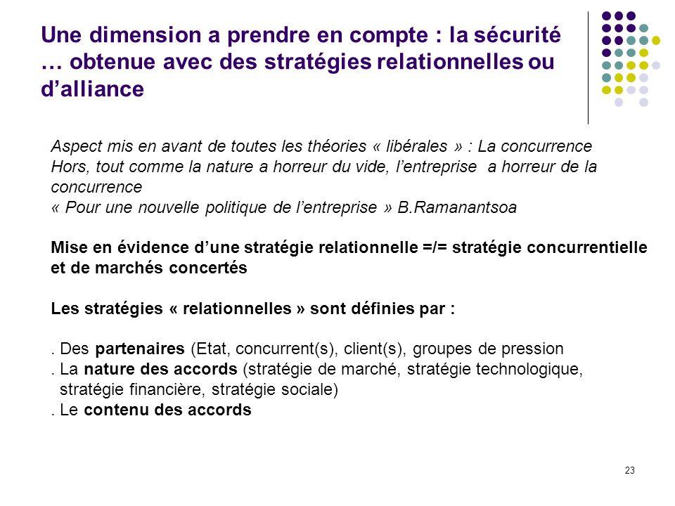 Une dimension a prendre en compte : la sécurité … obtenue avec des stratégies relationnelles ou d'alliance