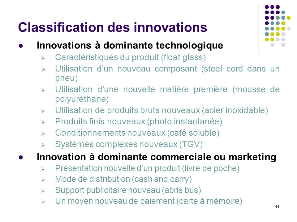 Classification des innovations