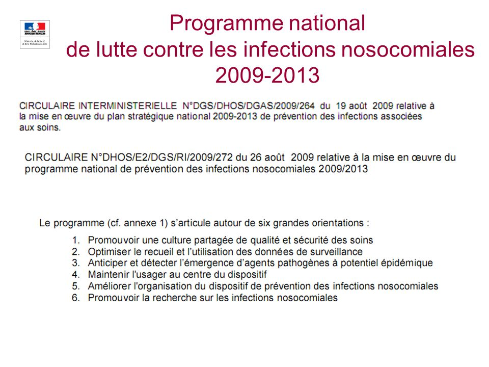 Programme national de lutte contre les infections nosocomiales 2009-2013