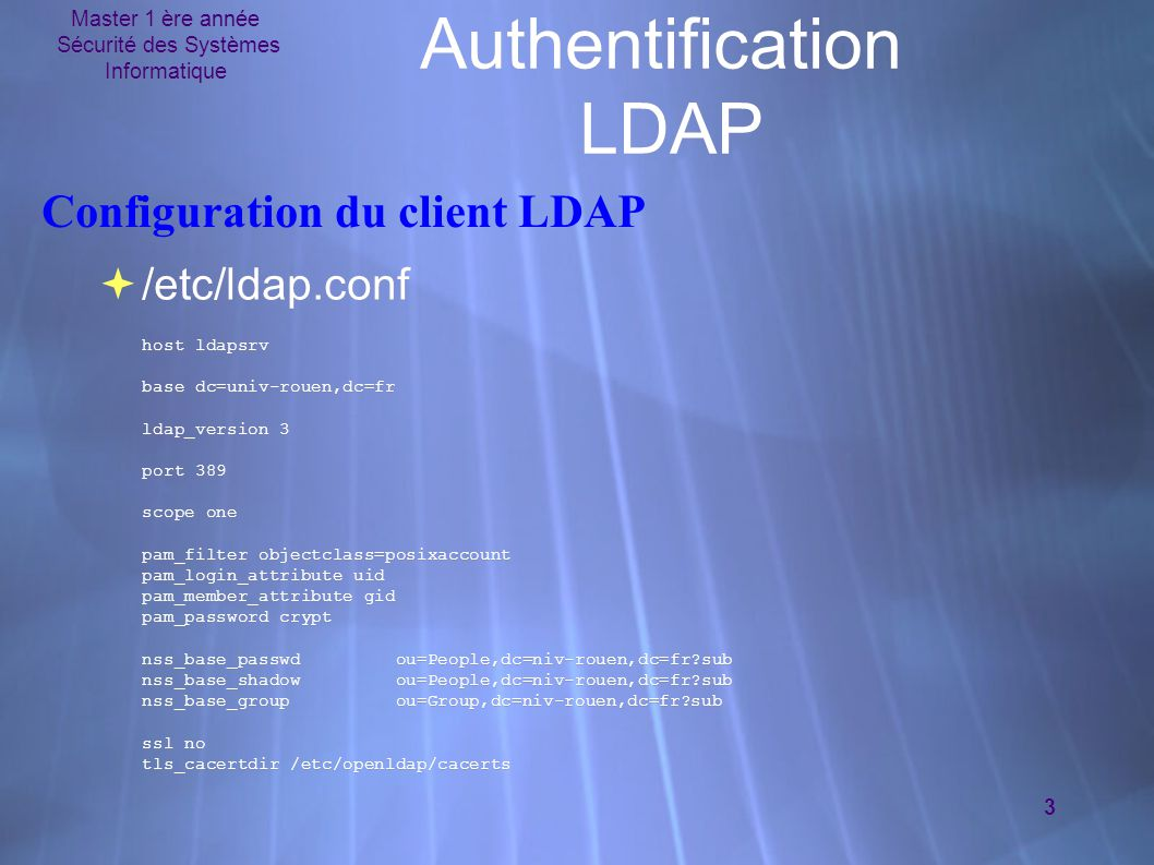 Authentification LDAP