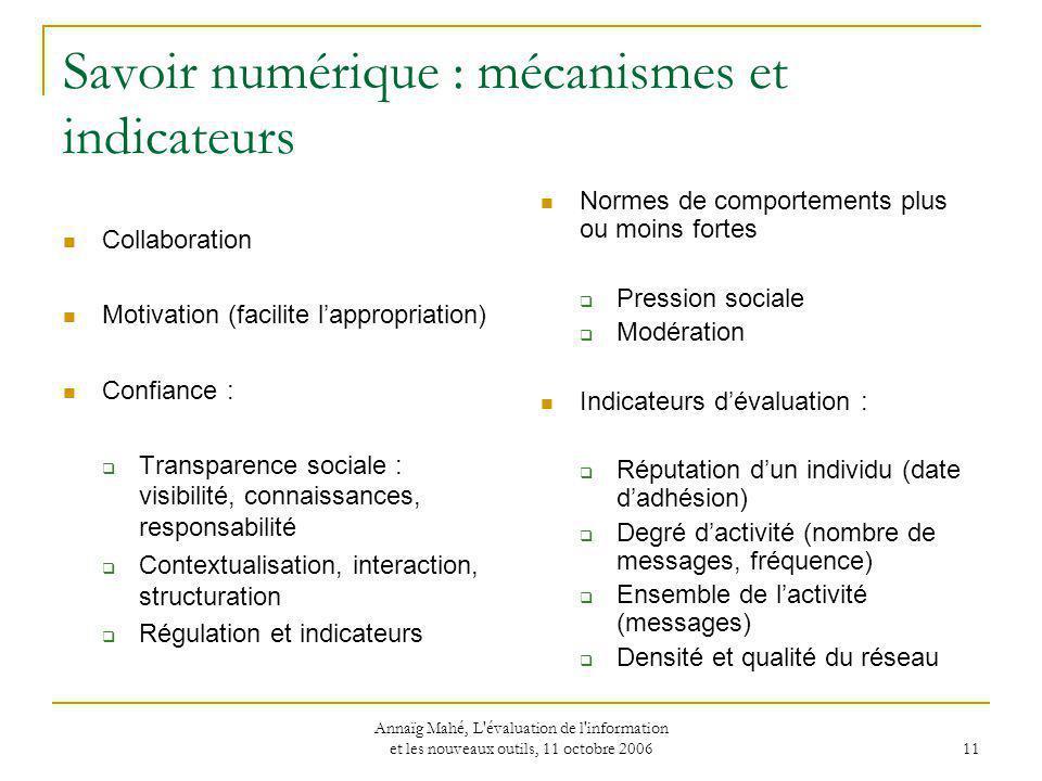 Savoir numérique : mécanismes et indicateurs