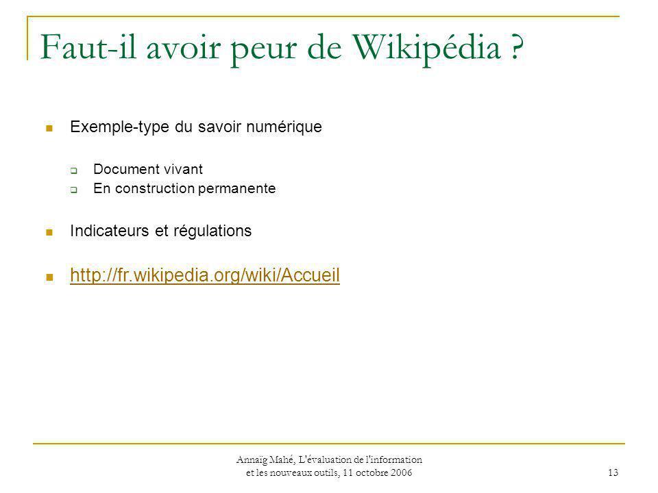 Faut-il avoir peur de Wikipédia