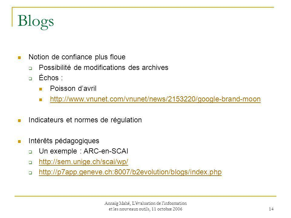 Blogs Notion de confiance plus floue