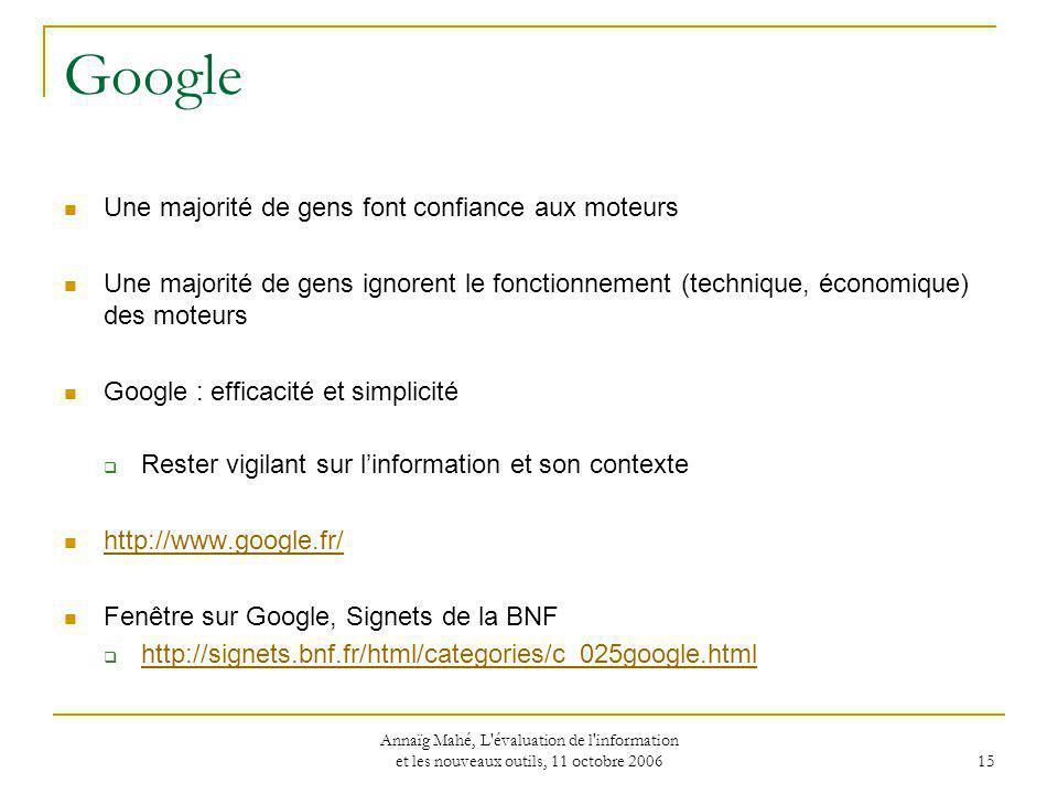 Google Une majorité de gens font confiance aux moteurs