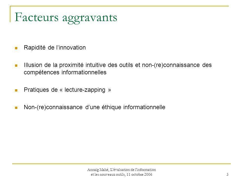 Facteurs aggravants Rapidité de l'innovation