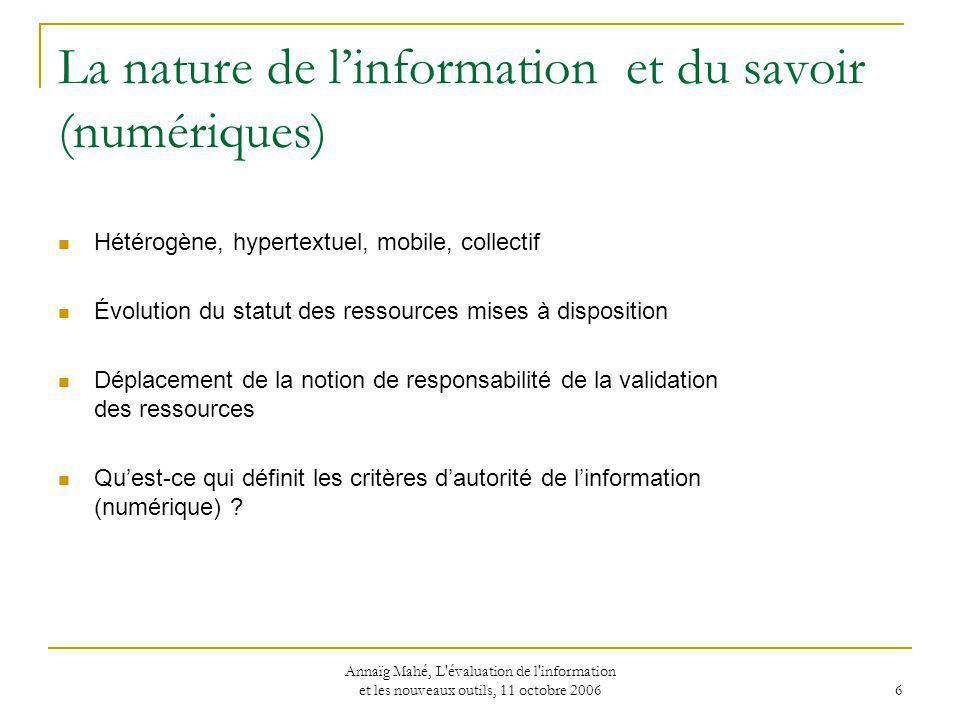 La nature de l'information et du savoir (numériques)