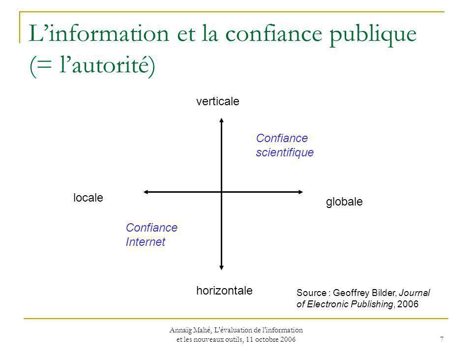 L'information et la confiance publique (= l'autorité)