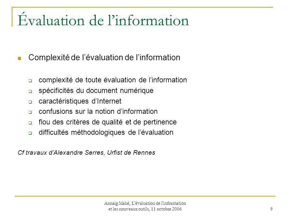 Évaluation de l'information