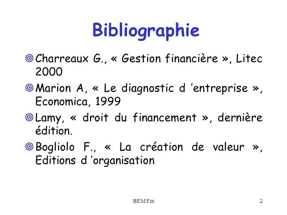 Bibliographie Charreaux G., « Gestion financière », Litec 2000
