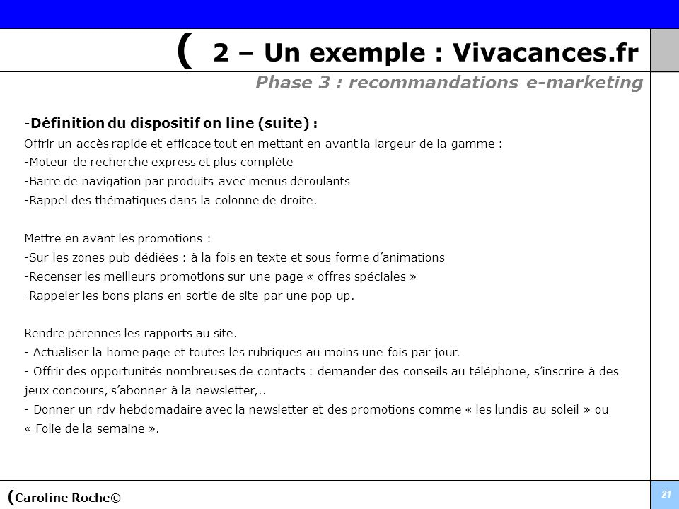 ( 2 – Un exemple : Vivacances.fr