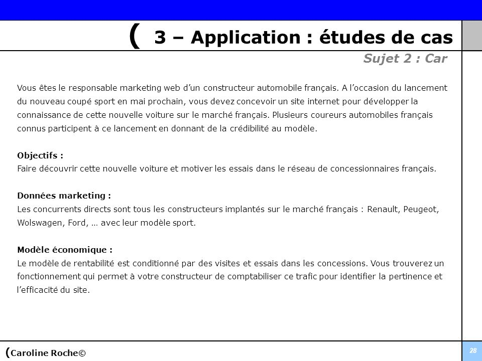 ( 3 – Application : études de cas