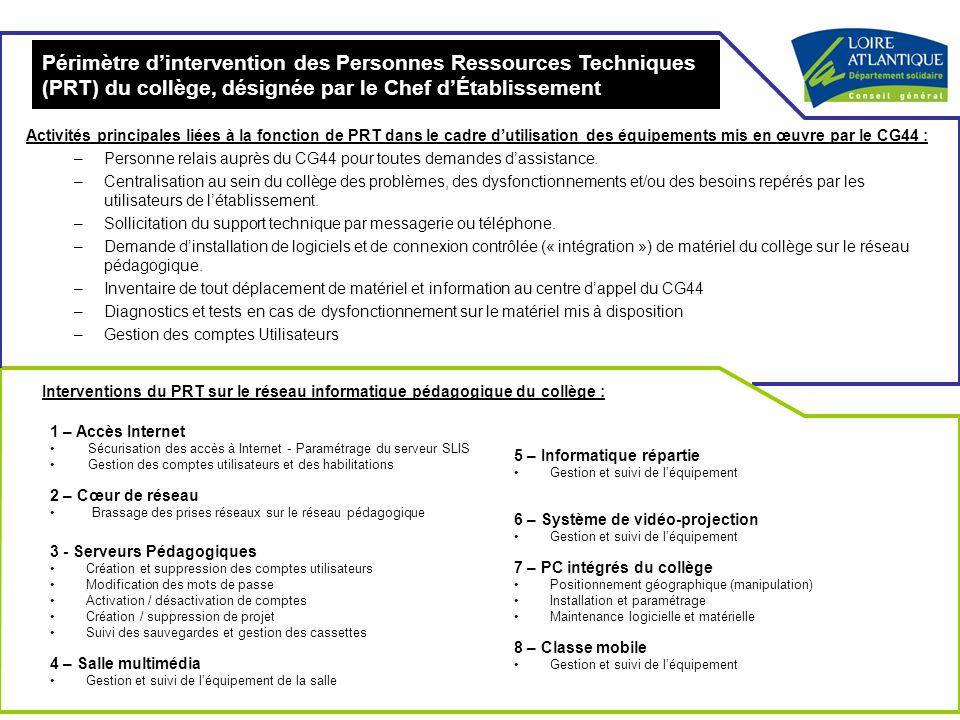 Périmètre d'intervention des Personnes Ressources Techniques (PRT) du collège, désignée par le Chef d'Établissement