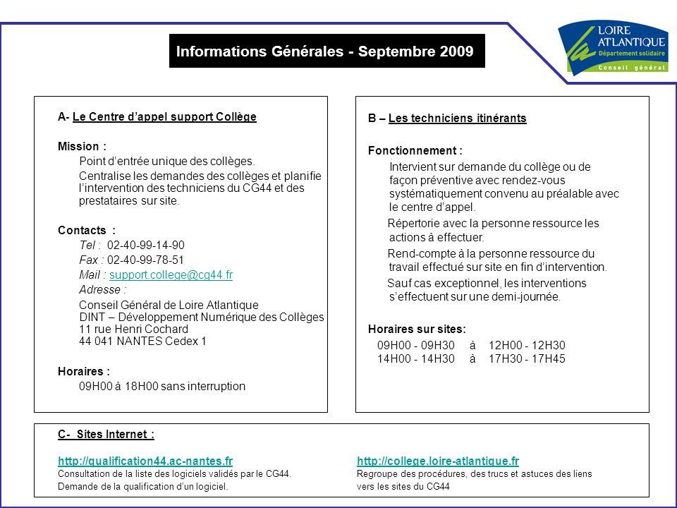Informations Générales - Septembre 2009