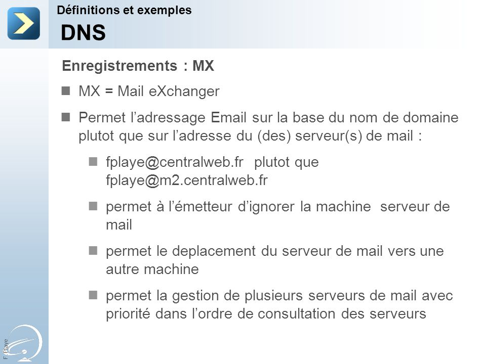 DNS Enregistrements : MX MX = Mail eXchanger