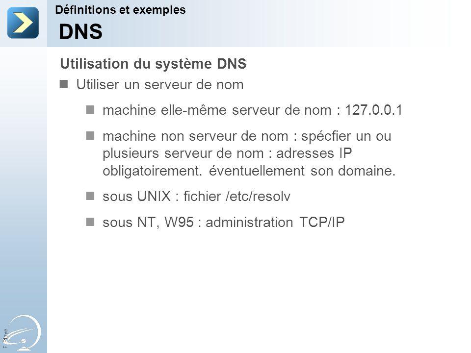 DNS Utilisation du système DNS Utiliser un serveur de nom