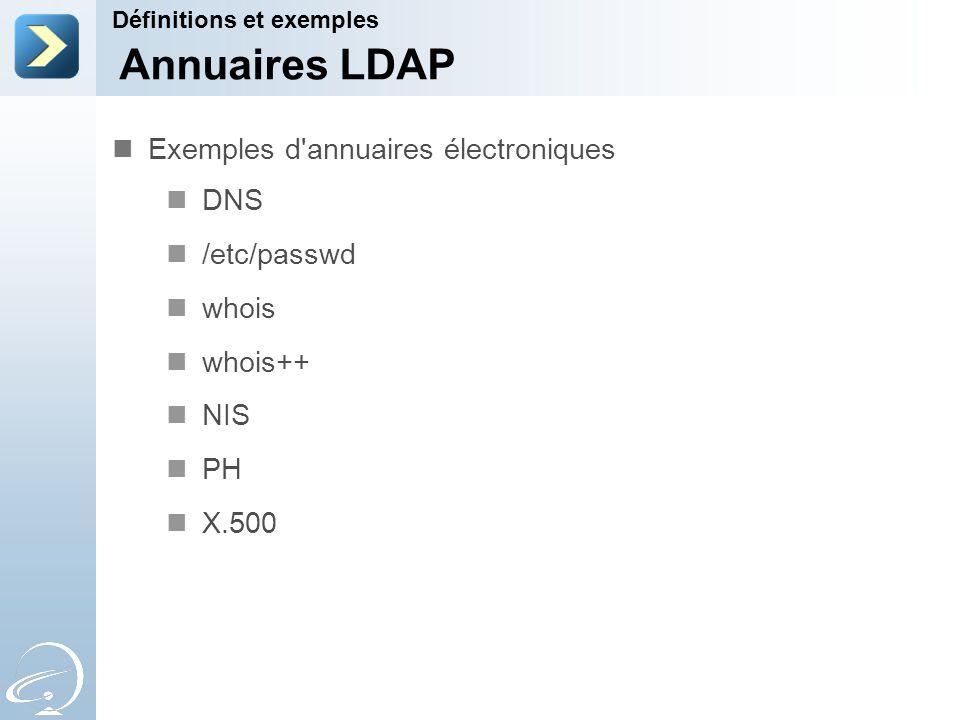 Annuaires LDAP Exemples d annuaires électroniques DNS /etc/passwd