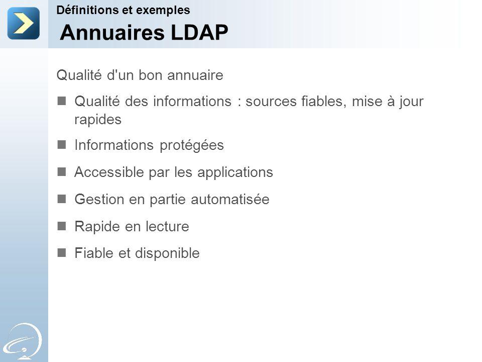 Annuaires LDAP Qualité d un bon annuaire