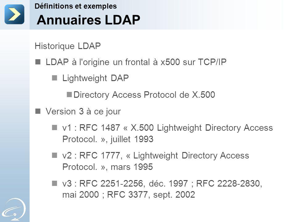 Annuaires LDAP Historique LDAP