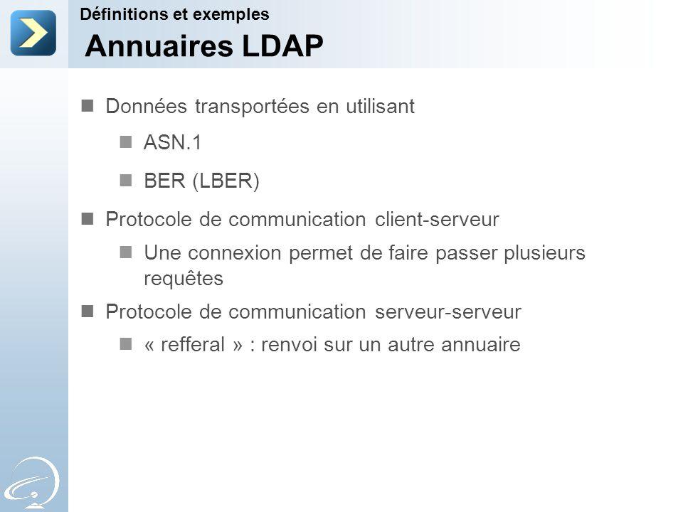Annuaires LDAP Données transportées en utilisant ASN.1 BER (LBER)
