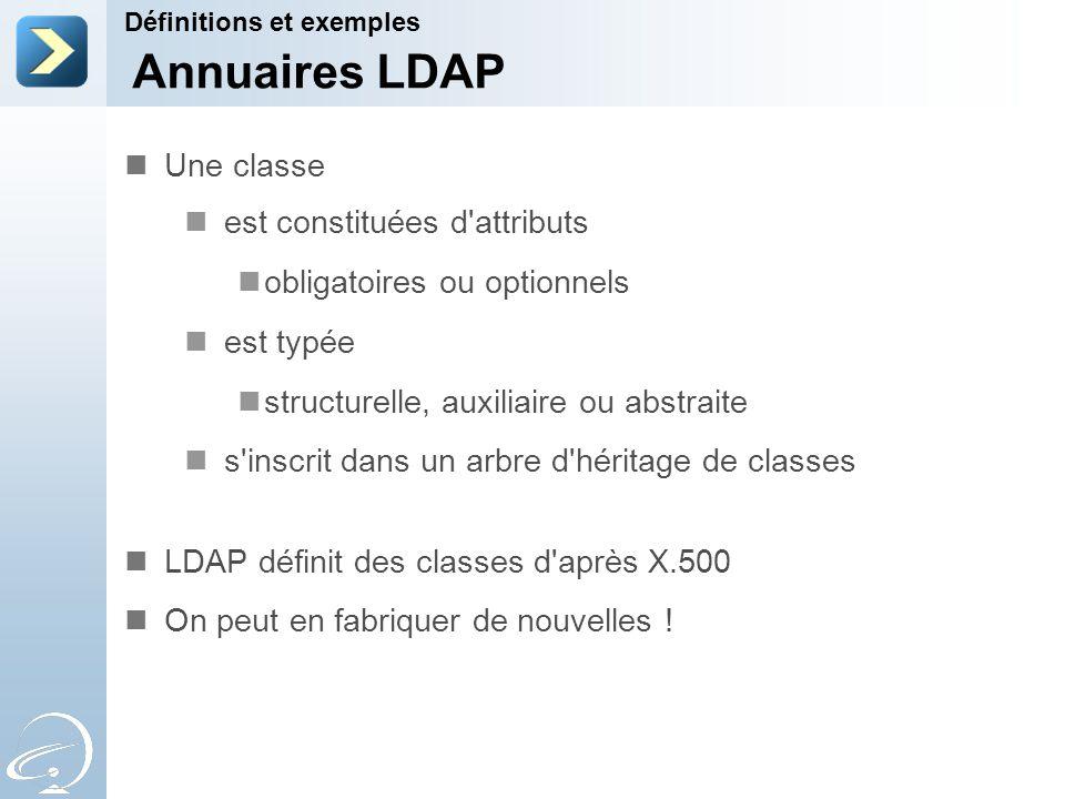Annuaires LDAP Une classe est constituées d attributs