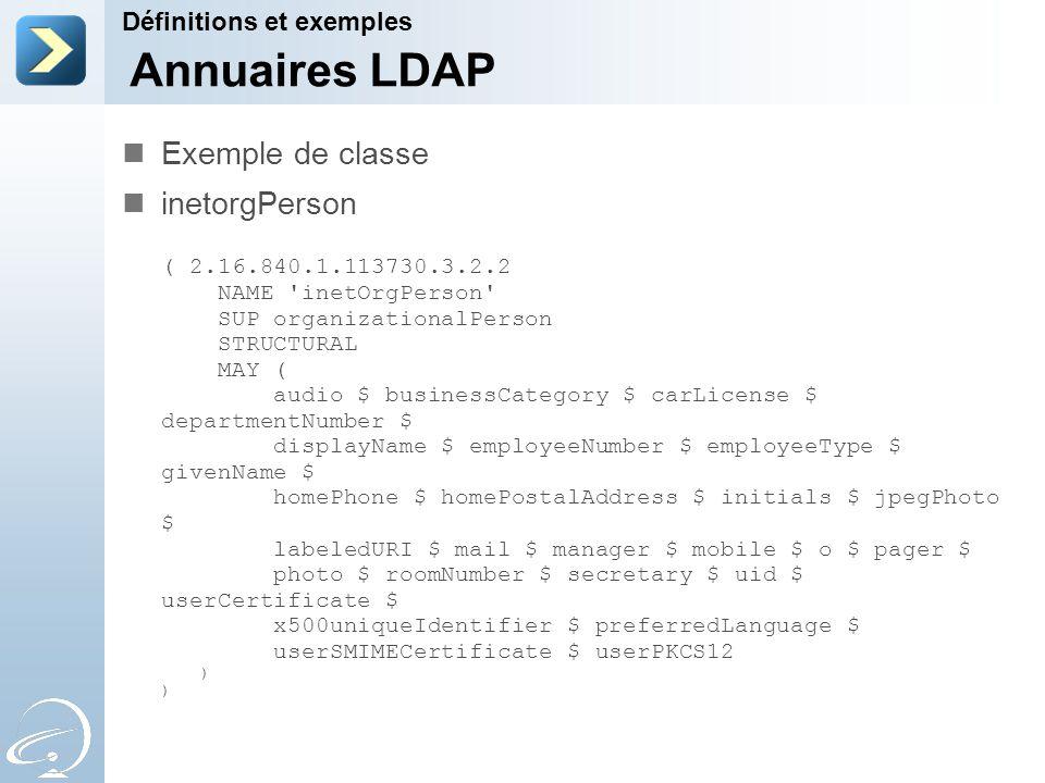 Annuaires LDAP Exemple de classe inetorgPerson Définitions et exemples
