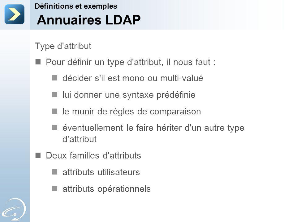 Annuaires LDAP Type d attribut