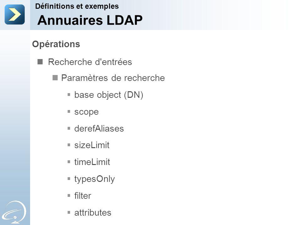 Annuaires LDAP Opérations Recherche d entrées Paramètres de recherche