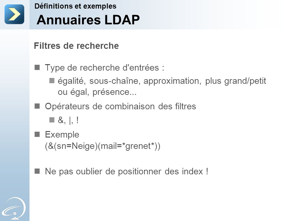 Annuaires LDAP Filtres de recherche Type de recherche d entrées :