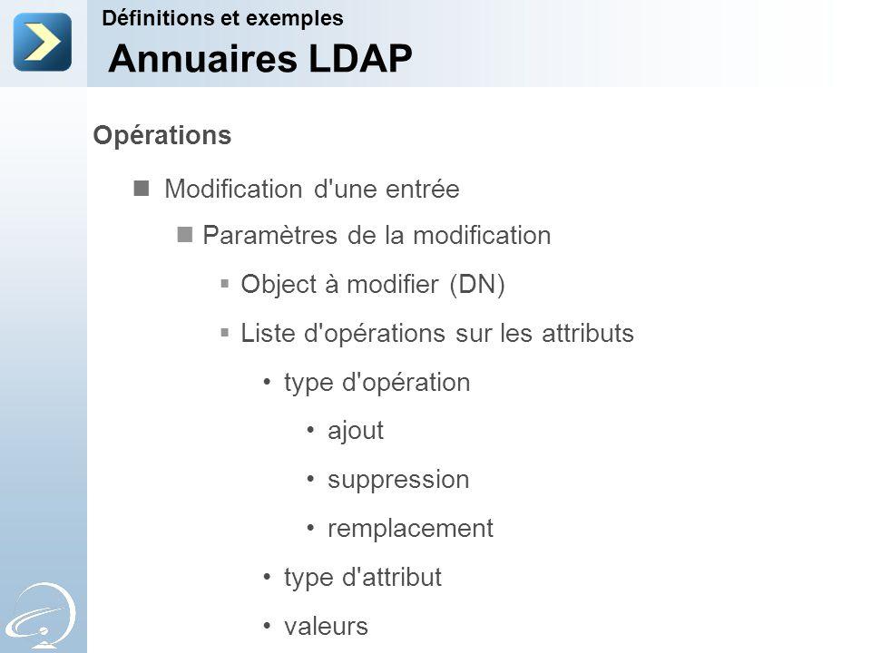 Annuaires LDAP Opérations Modification d une entrée