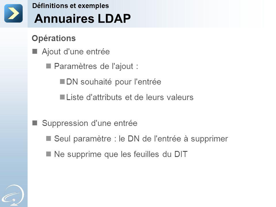 Annuaires LDAP Opérations Ajout d une entrée Paramètres de l ajout :