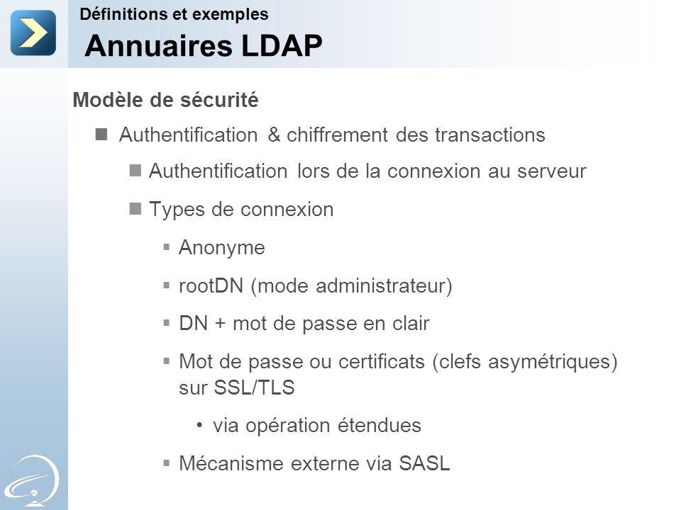 Annuaires LDAP Modèle de sécurité
