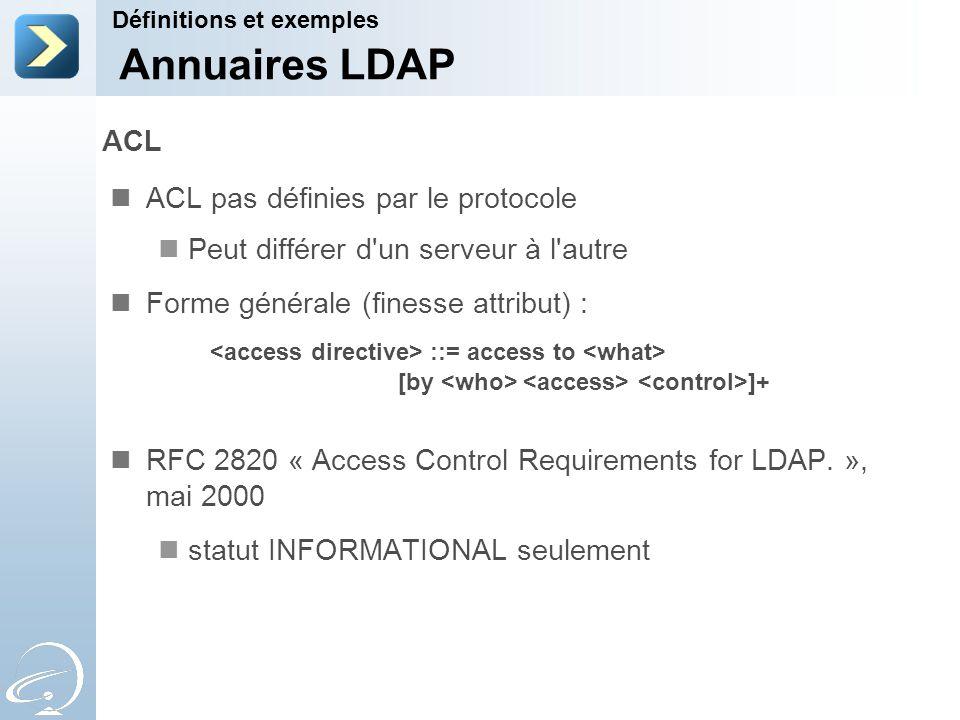 Annuaires LDAP ACL ACL pas définies par le protocole