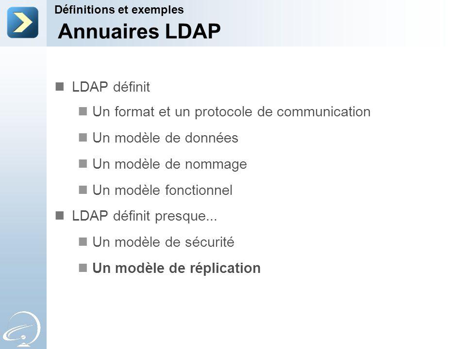 Annuaires LDAP LDAP définit Un format et un protocole de communication