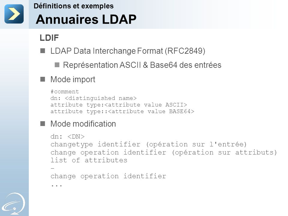 Annuaires LDAP LDIF LDAP Data Interchange Format (RFC2849)