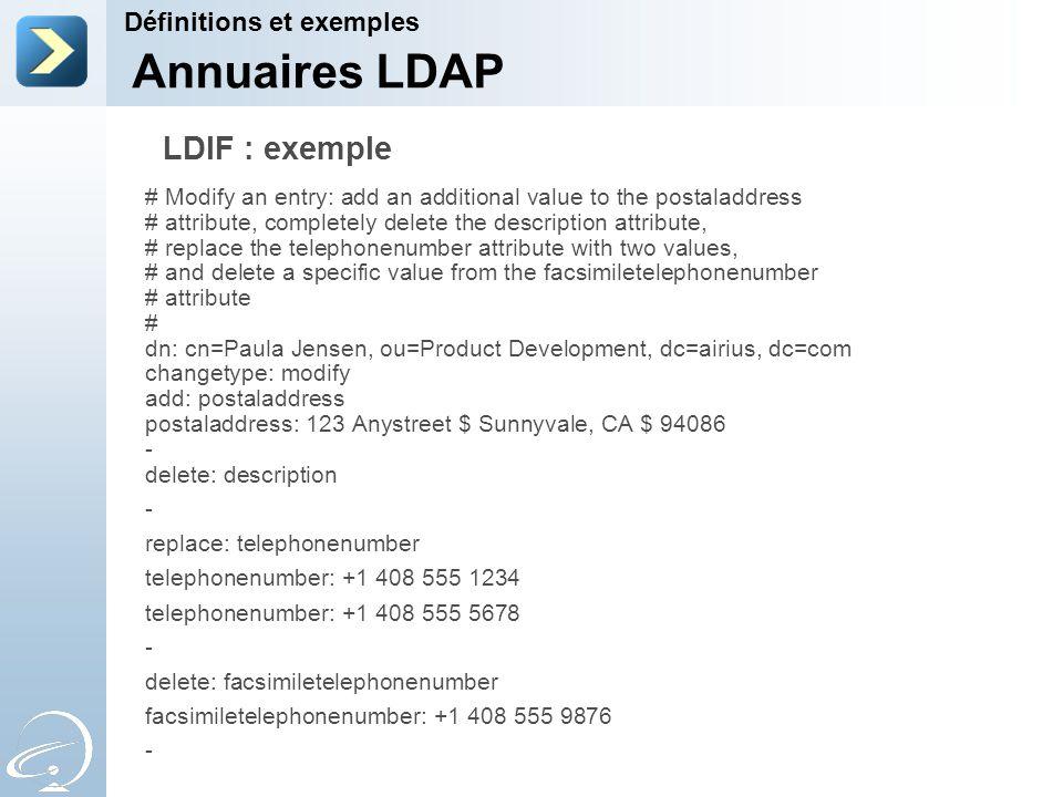 Annuaires LDAP LDIF : exemple Définitions et exemples