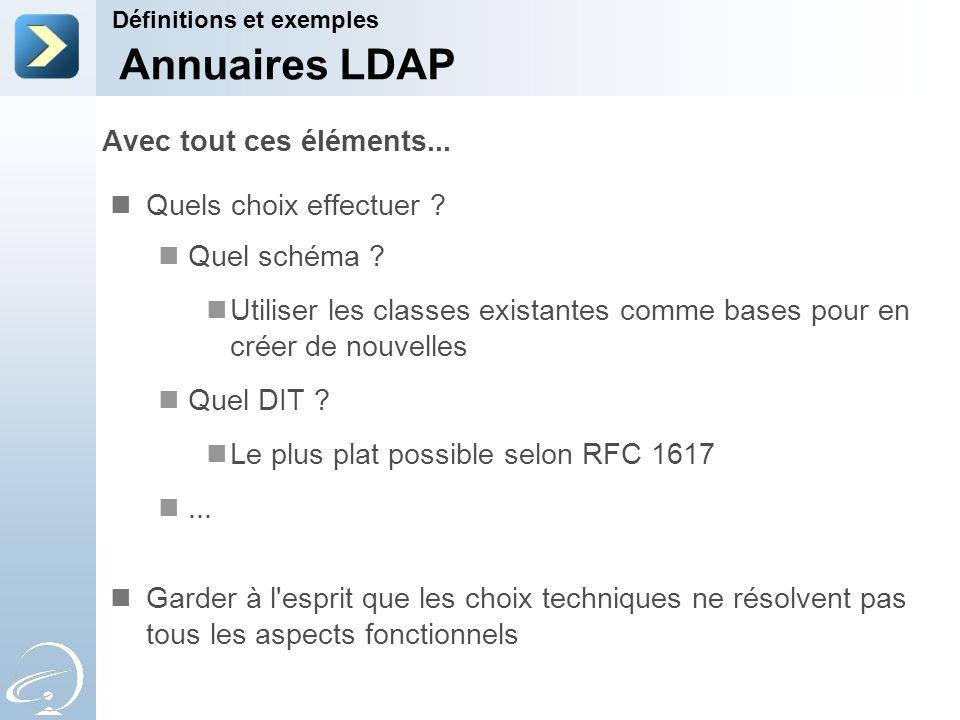 Annuaires LDAP Avec tout ces éléments... Quels choix effectuer