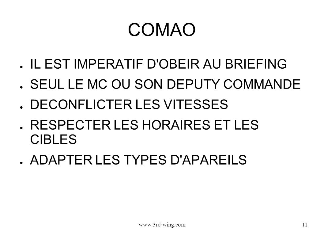 COMAO IL EST IMPERATIF D OBEIR AU BRIEFING